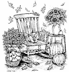 P3740 Fall Rocking Chair With Dog