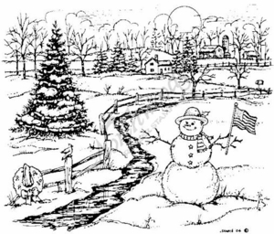 P3882 Patriotic Snowman, Spruce and Stream By Farmhouse