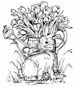 P391 Bunny With Tulips In A Pitcher