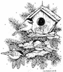 P3944 Chickadee Trio and Birdhouse