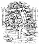 P6300 Adirondack Chair With Wreath and Birds