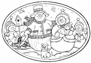 P6360 Snowman Family Oval