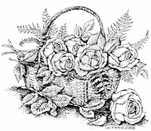 P6635 Rose Basket With Ferns
