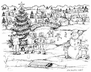 P6793 Snowman, Christmas Tree and Children