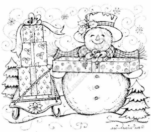 P6824 Snowman With Presents