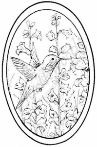 P6924 Hummingbird and Bell Flower Oval