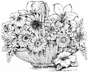P6934 Mixed Flowers In Basket With Handle