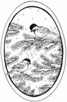 P7143 Chickadees On Pine Oval