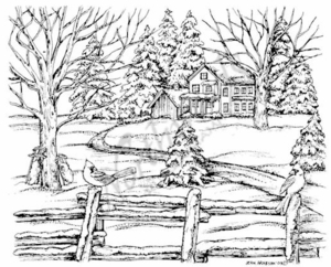 P7144 Winter House, Fence and Spruce