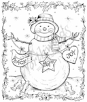 P7174 Peace, Hope, Joy Snowman With Holly Frame