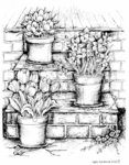 P7334 Spring Steps With Spring Flower Pots