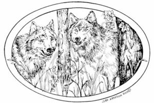 P7358 Wolf Pair In Oval