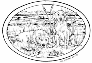 P7364 Puppies and Cattail Oval