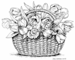 P7377 Tulips In Basket With Handle