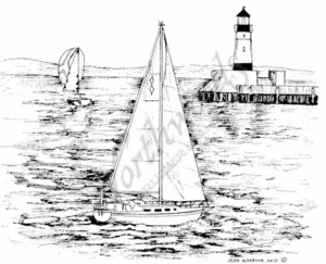 P7417 Sailboat and Lighthouse On Lake