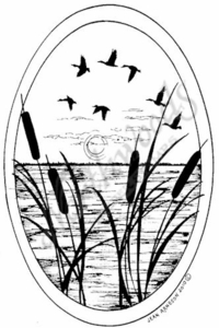 P7424 Cattail and Duck Oval