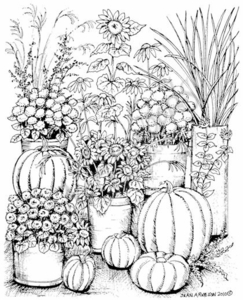 P7588 Patio With Mums, Pumpkins, Grasses And Sunflowers