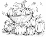 P7590 Squirrel In Wheelbarrow And Pumpkins