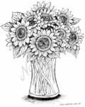 P7621 Sunflowers In Glass Vase