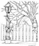 P7672 Lamp Post, Fence And Cardinals