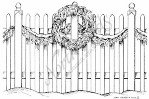 P7698 Picket Fence With Wreath