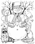 P7744 Snowman With Animal Friends