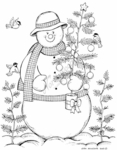 P7750 Snowman With Trees And Birds