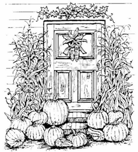 P779 Pumpkin and Cornstalks Door