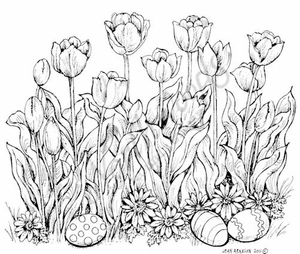 P7935 Tulips With Easter Eggs And Flowers