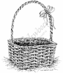 P7944 Empty Easter Basket With Bow