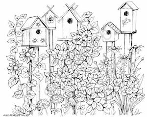 P8007 Spring Birdhouses With Flowers