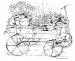 P8013 Wagon With Potted Flowers