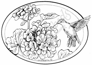 P8021 Hummingbird And Geranium Oval