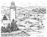 P8062 Lighthouse With Pines And Sailboats