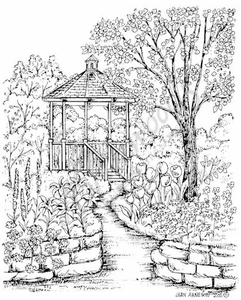 P8072 Spring Gazebo With Brick Wall And Path