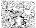 P8073 Spring Stone Bridge Walkway With Stream