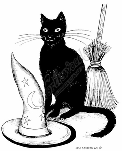 P8115 Hat, Cat And Broom