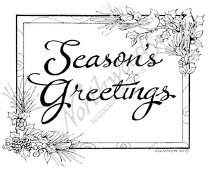 P8289 Season's Greetings In Cardinal Frame