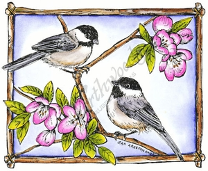 P8414 Chickadees And Apple Blossom Frame