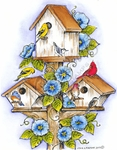P8416 Birdhouses And Morning Glories