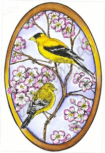 P8419 Goldfinch Pair Oval