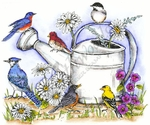 P8425 Watering Can With Birds And Flowers