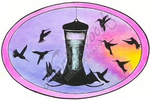 P8426 Hummingbird And Feeder Silhouette Oval