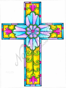 P8467 Modern Stained Glass Cross
