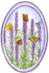 P8491 Prairie Blazing Star With Butterflies Oval