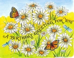 P8500 A Birthday Greeting Daisy And Butterfly Garden