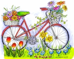 P8503 Bike With Flower Baskets