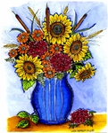 P8676 Sunflower And Cattail Vase