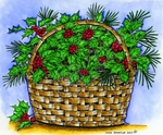 P8750 Holly And Berry Basket