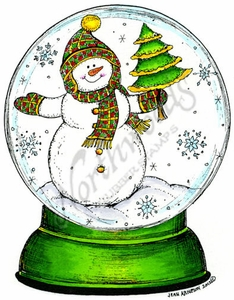 P8775 Snowman Holding Tree In Globe